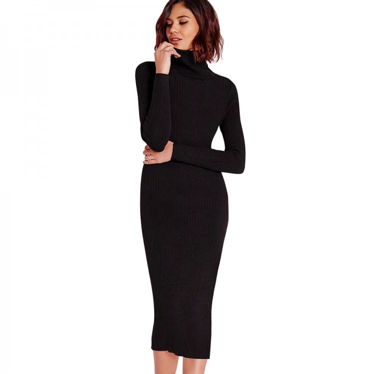 0cdd0e202b5 Gamiss Women Autumn Winter Sweater Knitted Dresses Slim Elastic Turtleneck  Long Sleeve Sexy Lady Bodycon Robe Dresses VestidosDresses